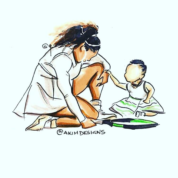 An amazing drawing by Twitter/IG user @akimdesigns - Olympia comforting her superhero mama, Serena Williams ???? | Serena Williams Porn XXX | Celebrity Nakeds XXX